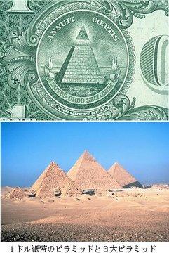 1ドル紙幣のピラミッドと3大ピラミッド.jpg